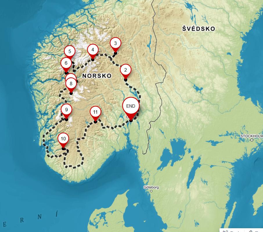 Itinerář – Střední a jižní Norsko karavanem